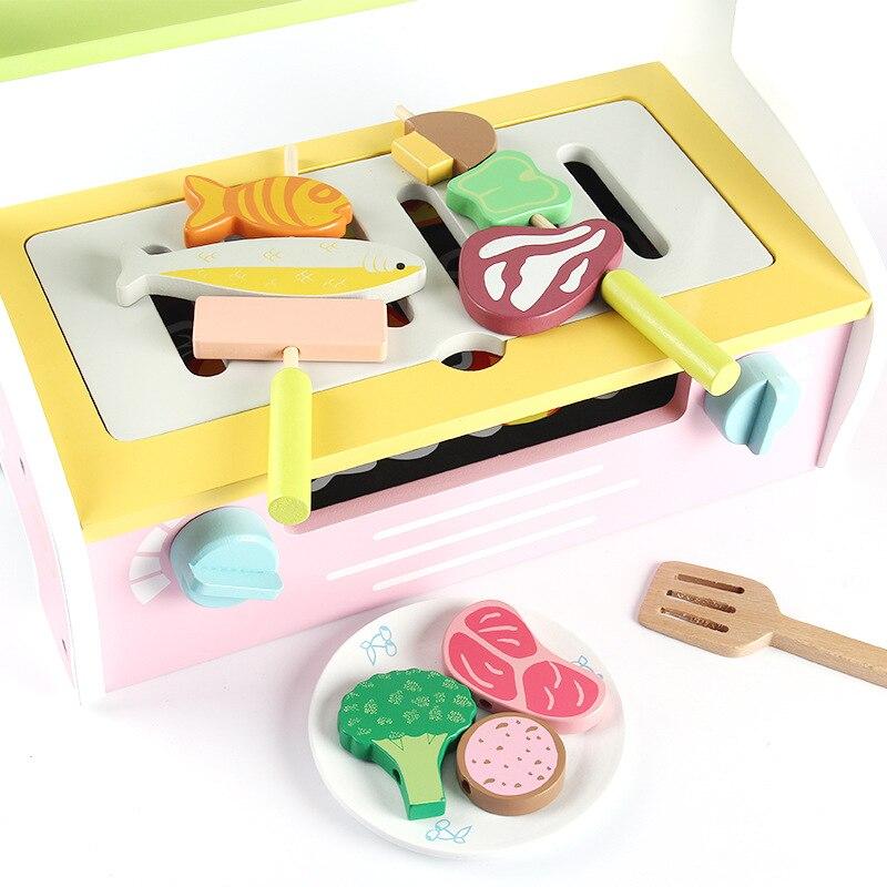 Nouveau jouet en bois créatif jouer maison cuisine pour enfants Barbecue boutique jeu de rôle jeu de perles interactif éducatif enfants jouets