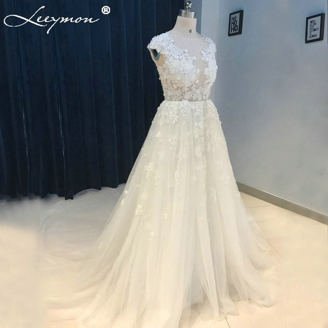 Romantic White Lace Cap Sleeve Wedding Dress Sexy See Through