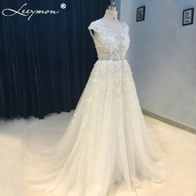 Romantic White Lace Cap Sleeve Wedding Dress Sexy See Through Beading Bridal Gowns 2017 Chic Lace Plus Tulle Trendy Party Dress