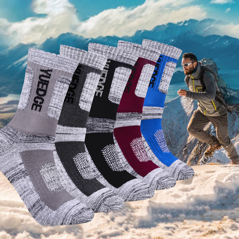 YUEDGE 5 Pairs Men Cotton Socks Brand New Casual Business Warm Thicken Anti-Bacterial Deodorant Breatheable Man Long Hiking Sock(China)