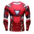 IronMan Супер Упругой Длинным Рукавом 3D Супергероя Футболка Тонкий Фитнес Рубашка Мужчины Упражнения Плотно Прилегающие Прокат Джерси