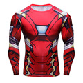 IronMan Super Elastic Long Sleeve 3D Superhero T Shirt Slim Fitness Shirt Men Exercise Skintight Bicycle Jersey