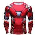 Súper Elástico de Manga Larga 3D Superhero IronMan Camiseta Delgada Camisa de Los Hombres de Fitness Ejercicio Ceñido Jersey de Bicicletas