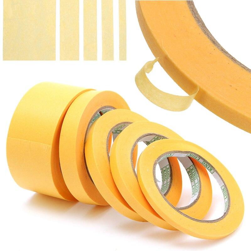 50M Yellow Tape 6mm/10mm/12mm/18mm/50mm Adhesive Insulation Tape Masking Paint Spray Paper Tape Mayitr
