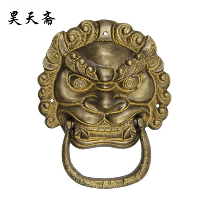 [Haotian vegetarian] Chinese antique beast big tiger lion head copper handle pure copper door first shop HTA-062 [haotian vegetarian] chinese antique copper fittings copper beast lion head door knocker handle first shop hta 050