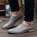 LIN KING Oxford Shoes Business Men Office Dress Shoes Casual Lazy Loafers Square Heel Pointed Toe Chaussure Hombre Shoes