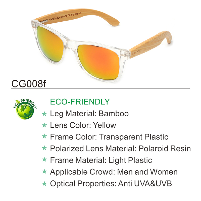 Clear Color Polarized Wood Bamboo Sunglasses For Women. 30