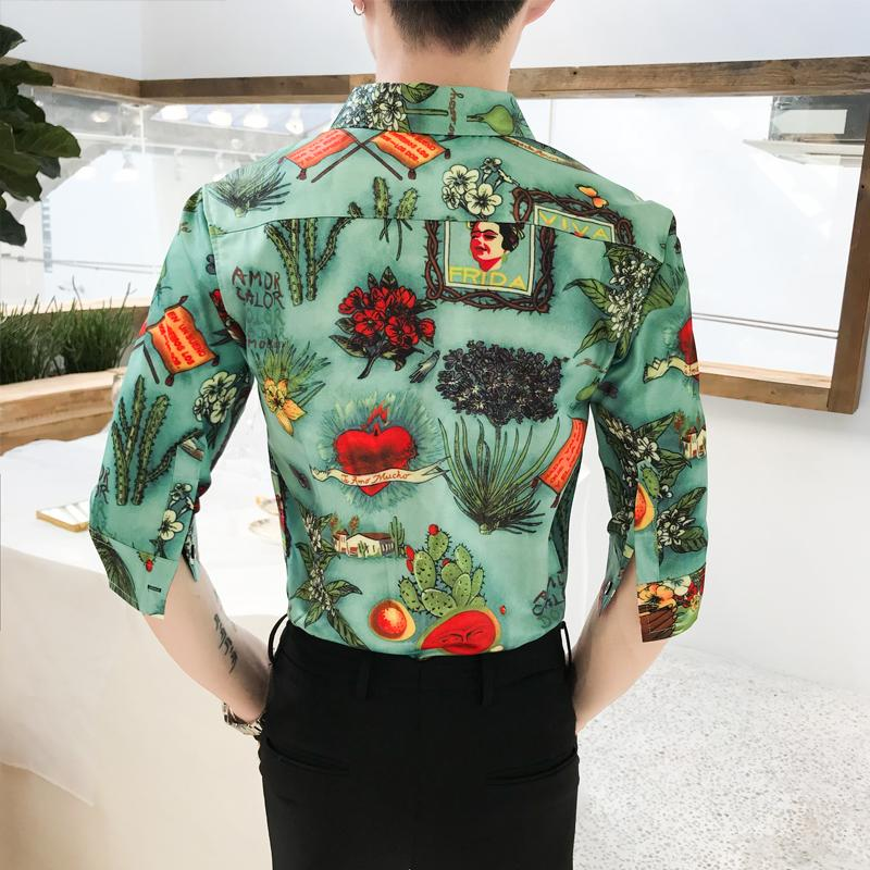 Luxury Social Shirt Male Flower Hawaiian Shirt Mens Clothing Half sleeve Green Blouse Men Slim Fit Summer Hip hop in Casual Shirts from Men 39 s Clothing