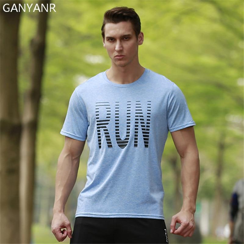 GANYANR Running T Shirt Men Tennis Basketball Soccer Sportswear Jogging Fitness Gym Tops Tee quick dry Exercise Short Sleeve