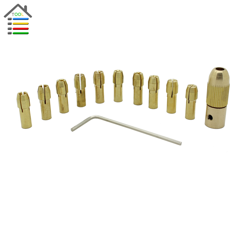 Copper Chuck /& Brass Collet Set for 0.5-3.17mm Micro Replaceable Twist Drill Bit