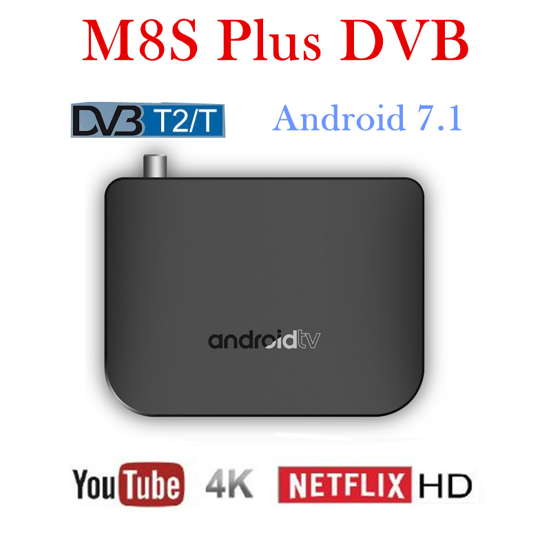 цена на smart tv box android 7.1 octa core 4k mecool m8s plus dvb t2 wifi iptv stalker 1gb ram 8gb rom box tv android 7.1 set top box