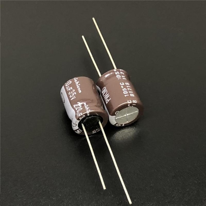 100pcs 220uF 35V NICHICON PW Series  10x12.5mm Low Impedance 35V220uF Aluminum Electrolytic Capacitor
