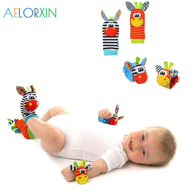 2018 Cute Animal Soft Animal Baby Rattles Children Infant Newborn Plush Sock Baby Toy Wr ...
