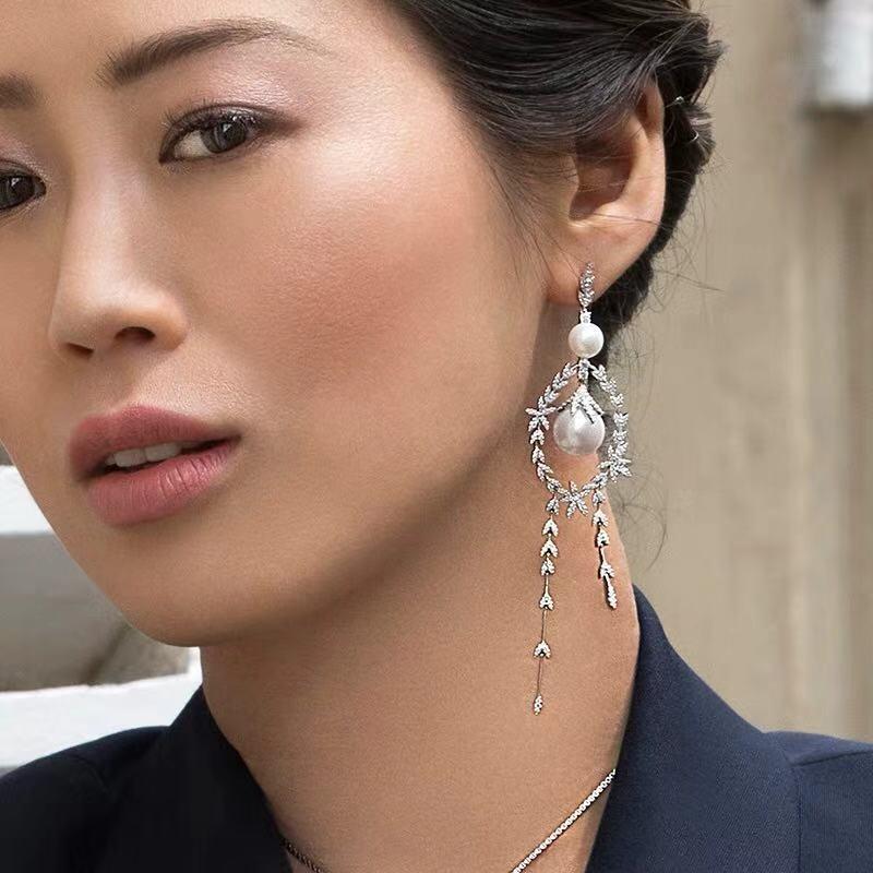 925 sterling silver jewelry cz zircon Leaves flower earings Asymmetric freshwater pearl  earring monaco france jewelry yao chen