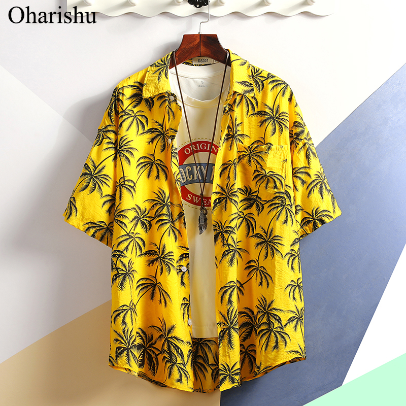 2019 Summer Men's Shirt New Fashion Flower Print Short Sleeve Shirts Men Casual Solf Comfort Hawaii Beach Shirts Male Plus Size