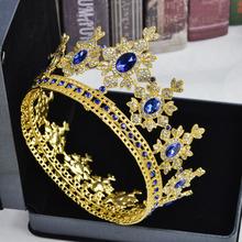 Luksusowy złoty metal Tiara i korona kryształ Rhinestone w pełni okrągłe królowa włosy ślubne biżuteria Diadem ślubne ślubne akcesoria do włosów tanie tanio ACRDDK Ze stopu cynku TRENDY Hairwear Moda 36519 PLANT Kobiety