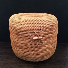 Hand-Woven Rattan Basket Storage Box Sundries Tea Products  Home Decoration Panier Osier