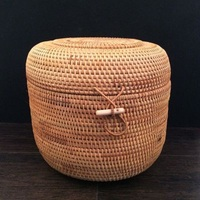 Hand Woven Rattan Basket Storage Box Sundries Tea Box Rattan Products Storage Basket Home Decoration Panier Osier