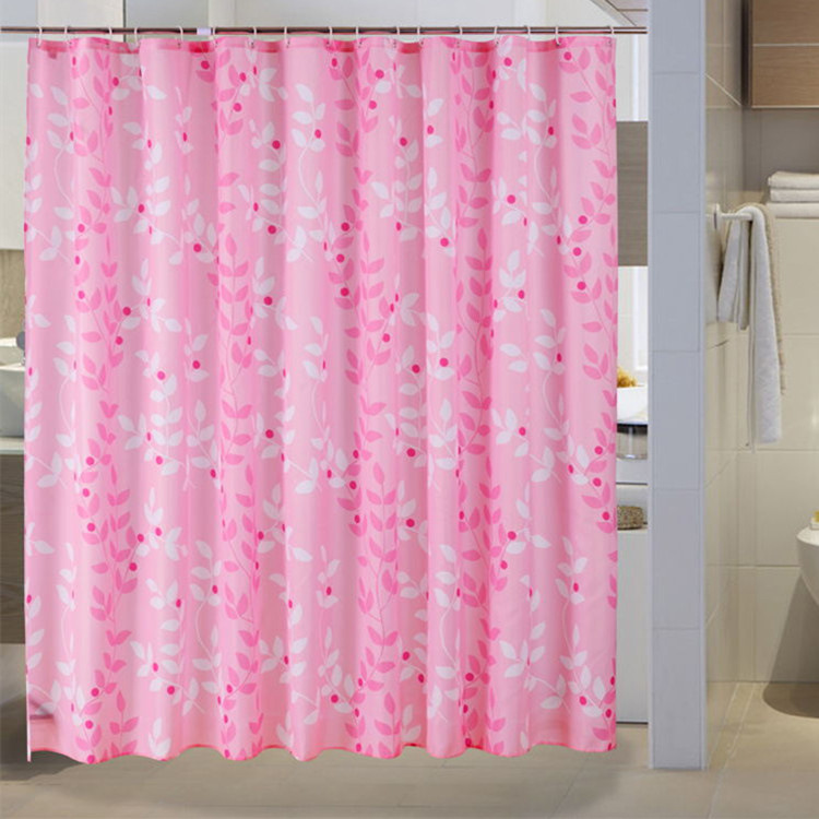 High Quality Pink Shower Curtains Polyester Waterproof Bathroom Shower Curtain America Style Bath Curtain With Hooks