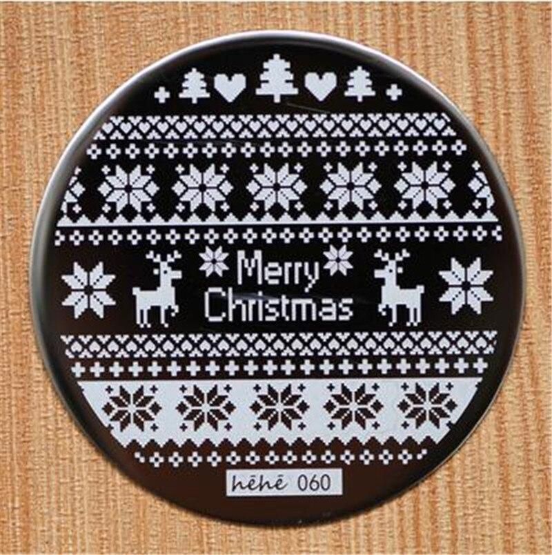 f76a6b656c Navidad diseño redondo Acero inoxidable placas de uñas hehe60 serie Nail  Art imagen Konad imprimir estampilla estampación Plantilla de manicura