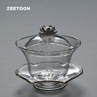 200ミリリットルクリエイティブブティック蓮gaiwan耐熱ガラスティーカップティーポットマスターカップ蓋ブローカンフー茶セット茶ポットティーメーカ