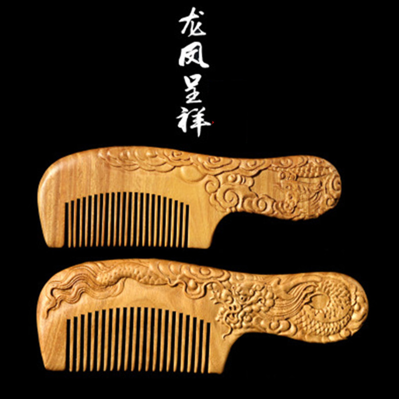 Professional Health Care Comb Anti-static Massage Natural Green Sandalwood Comb Handmade Wood Hair Brush Wedding/Birthday Gift 1pc wooden massage comb natural wild boar bristles wooden comb hair brush green sandalwood handle brosse hair care comb de14