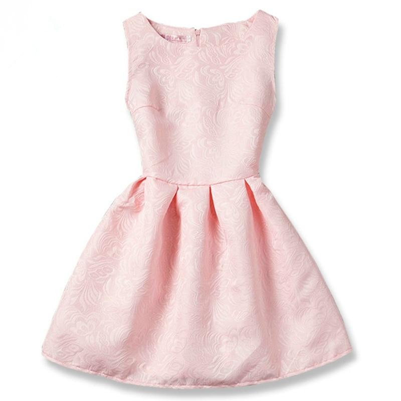 Neue Rosa Jugendlich Mädchen Kleid Sommer Prinzessin Solide Dobby ...