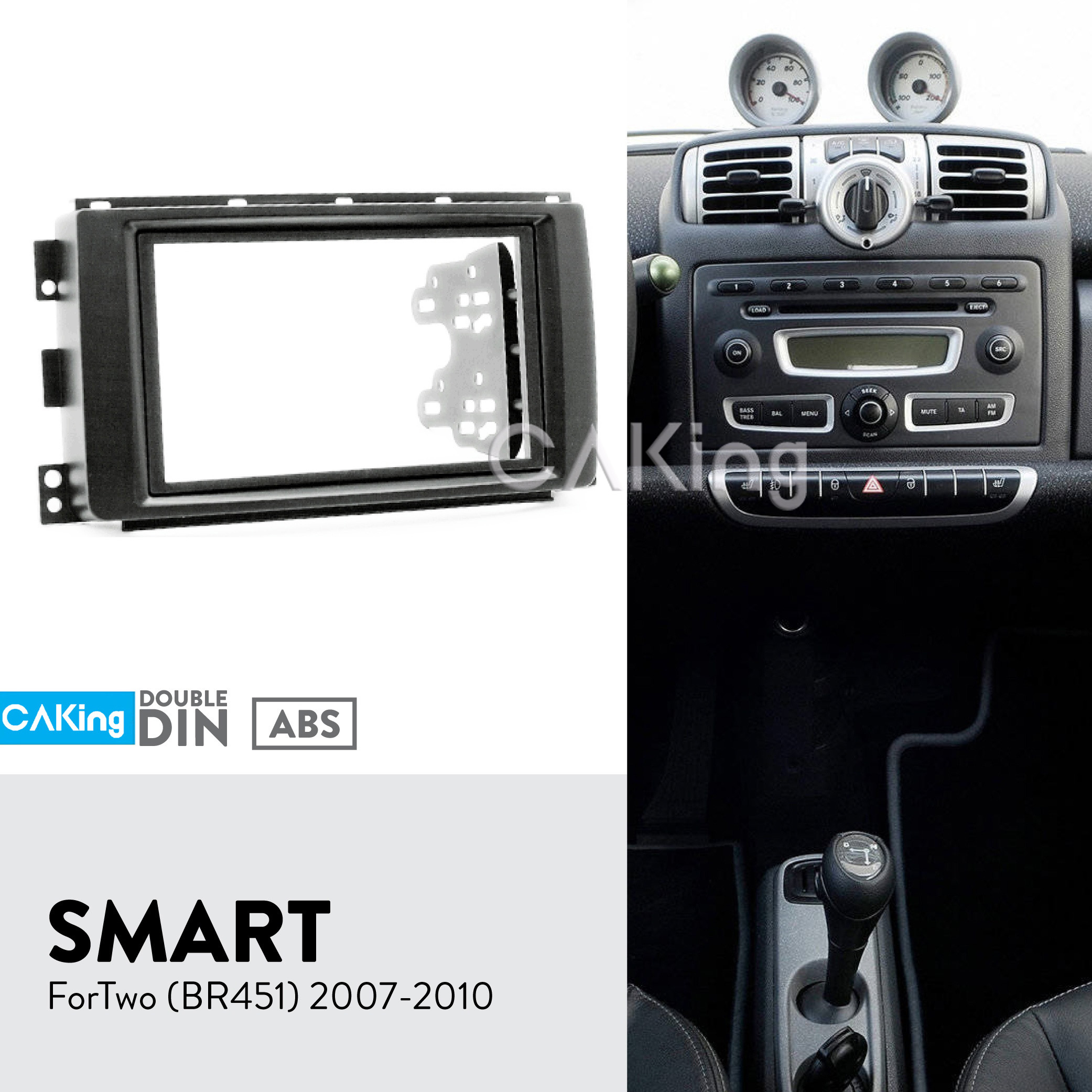 Double Din Car Fascia Radio Panel for Smart ForTwo BR451 2007 2010 Dash Fitting Kit Facia