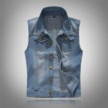 2020 Men's Sleeveless cotton Denim Vest Male fashion Spring Autumn 80s Vintage Jackets Hole Jeans Brand top Waistcoat 6XL