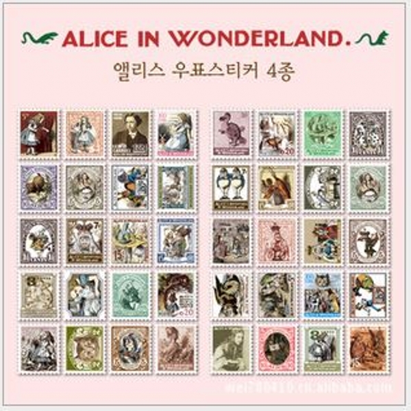 MQStyle 4Pcs/Pack DIY Vintage Retro Paper Stickers Alice In Wonderland Stamp Sticker For Diary Scrapbooking H0107