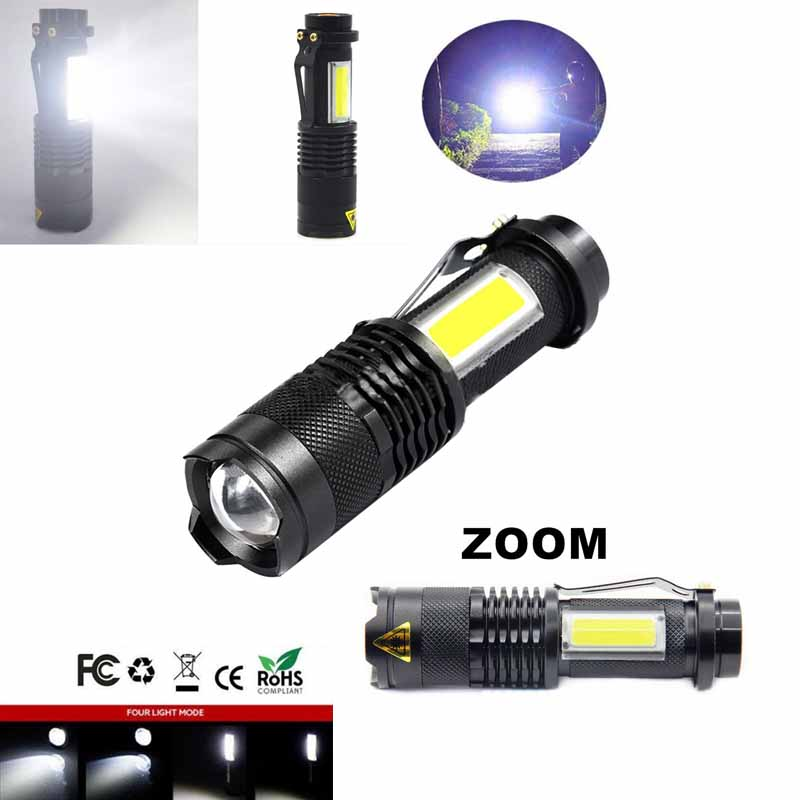 Torch lanter COB LED flashlight mini zoom portable torchflashlight use AA 14500 battery waterproof life lighting flashlight luz