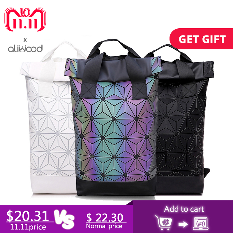 Aliwood Women Backpack Luminous Geometric Backpack For Teenage Girls Plaid Sequin Holographic Diamond Backpack Mochila Feminina e2e x5mf1 z