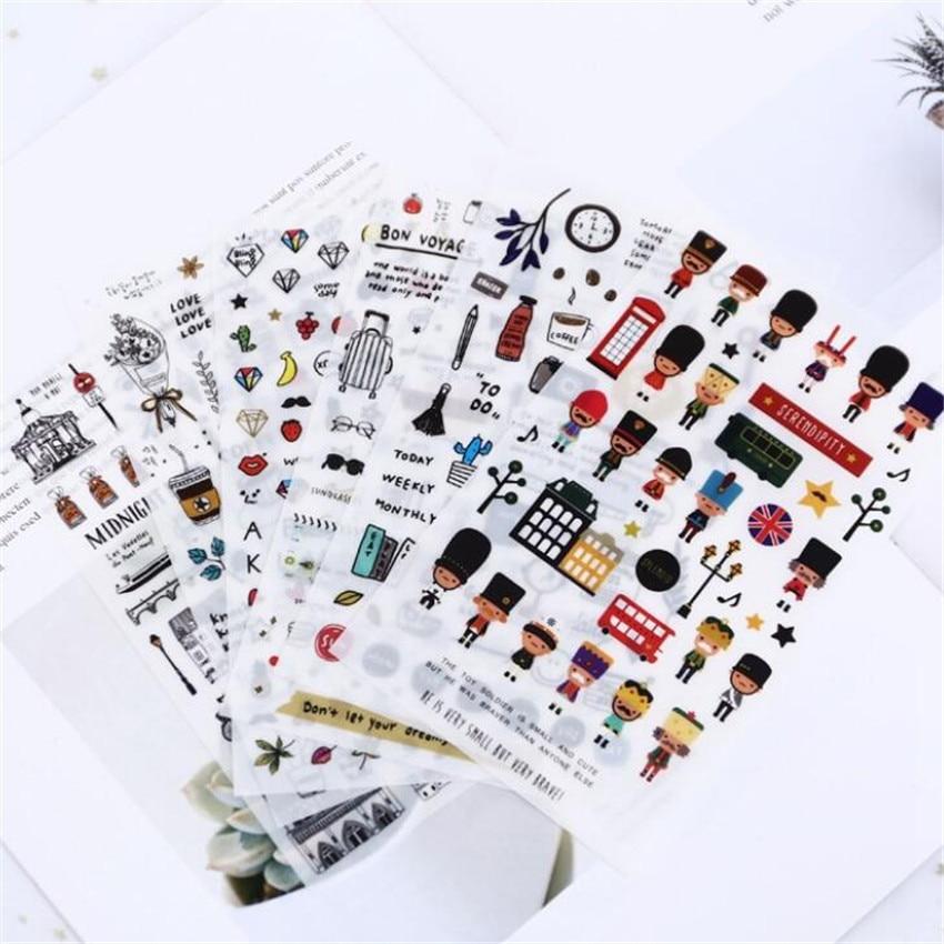 6 Pcs/pack European Building Paris Decorative Stationery Stickers Scrapbooking DIY Diary Album Stick Lable