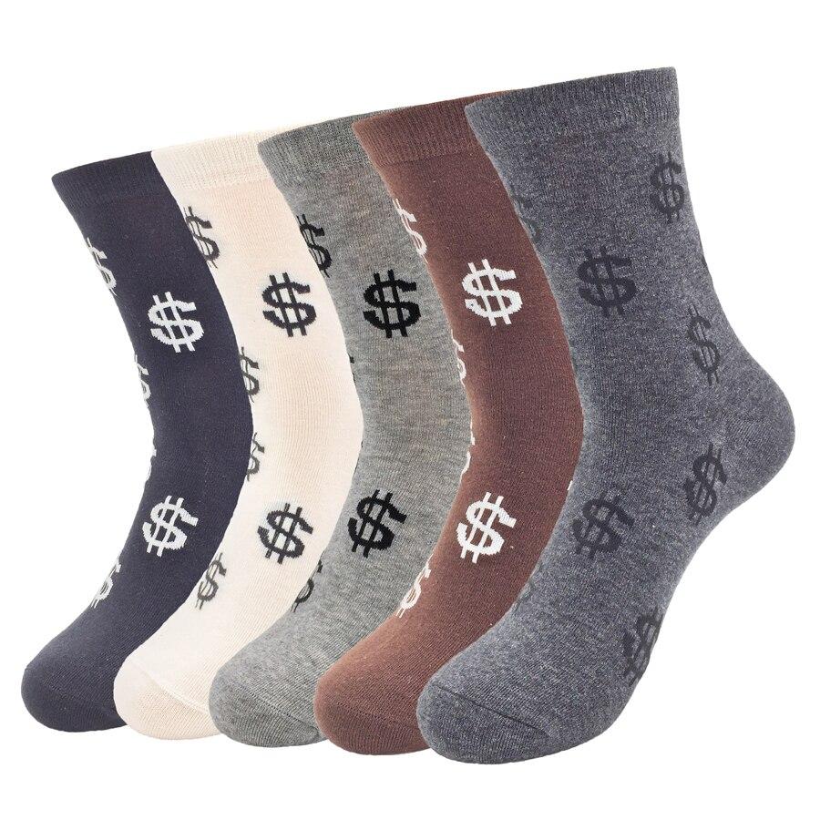 Cotton Men's  Dress Socks Money Dollars 2017 Autumn/Winter Compression Breathable Brand  Thick Socks 5 Pairs/lot