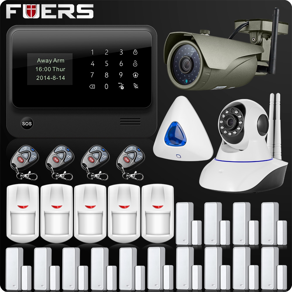 G90B Plus Wireless WiFi GSM GPRS SMS Home Security Alarm System LCD ISO Android App Control Wifi IP Camera g90b 2 4g wifi gsm gprs sms wireless home security alarm system ios android app remote control detector sensor