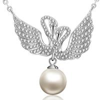 100% 925 Silver Natural Pearl Pendant Necklace Sterling Freshwater Pearl Swan Pendant Necklace Lady Necklace