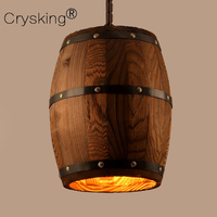 Le Baril en bois Vintage Pendentif Lumière avec Edison Ampoules, industrielle Bois Lampe Café Bar Salle À Manger Luminaire Nordique Décor
