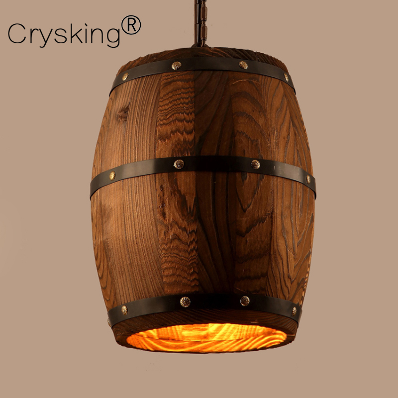 Wood Barrel Vintage Pendant Light with Edison Bulbs, Industrial Wood Lamp Cafe Bar Dining Room Lighting Fixture Nordic Decor brass half round ball shade pendant light led vintage copper wooden lighting fixture brass wood fabric wire pendant lamp