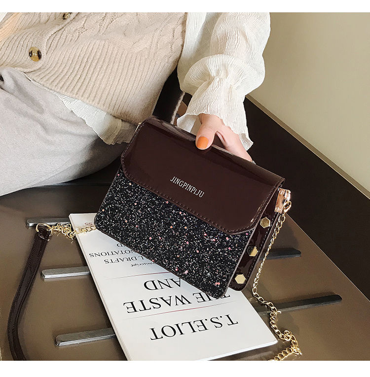 Ins Super Popular 2019 New korean style shoulder bag small square bag Chain messenger bag sequin flash Pu leather bags for women in Top Handle Bags from Luggage Bags
