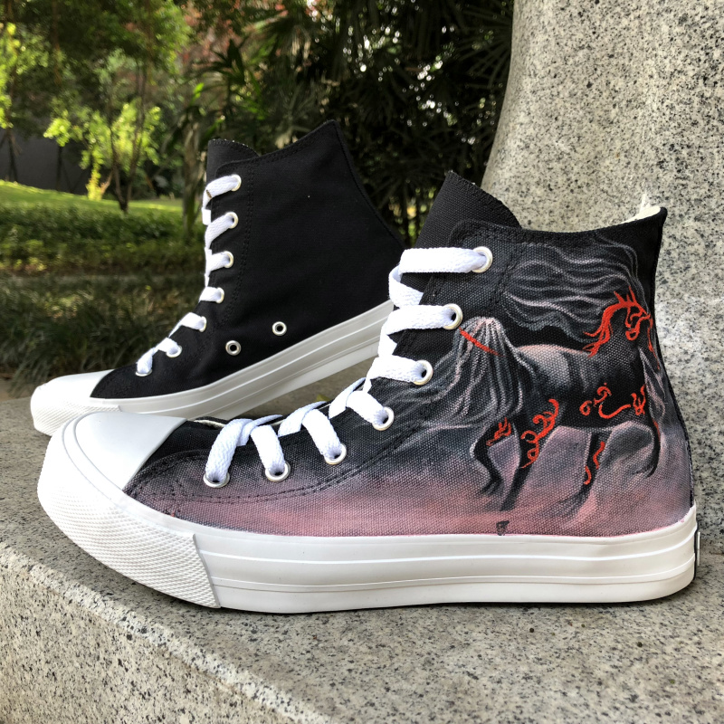 Wen Custom Design Hand Painted Original Shoes Galloping Horses High Top Canvas Sneakers Women Men Shoes Skateboarding Gifts red original converse all star men women shoes zombies walking dead custom design sneakers hand painted shoes man woman