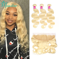 Monstar Remy Blonde Color Hair Body Wave 3/4 Bundle with 13*4 Ear to Ear Lace Frontal Closure Brazilian Human Blonde 613 Hair