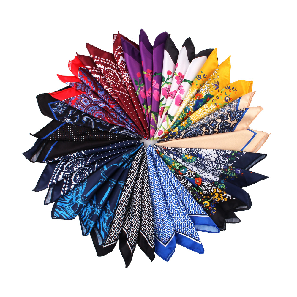 Neue Mode Silk-wie Tasche Platz Für Männer Frauen Floral Print Anzüge Hanky Herren Taschentücher Anzug Platz Taschentuch Handtücher Schals Feine Verarbeitung