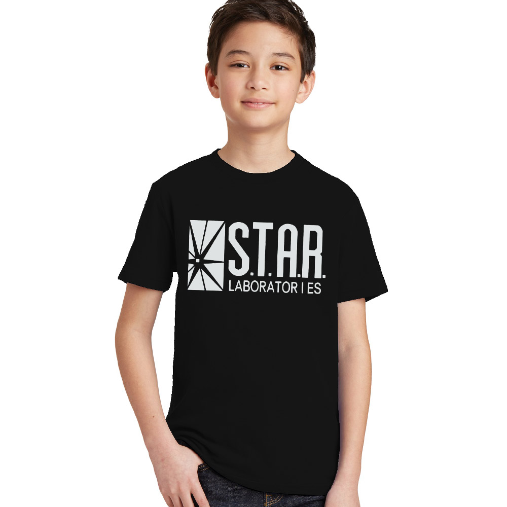3-10Y Kids Black Star Lab Letter Print Short Sleeve T Shirt Boys Novelty T-shirt Girls Tshirt Clothes Anime Comics The Flash stylish short sleeve round neck high low hem tower and letter print t shirt for women