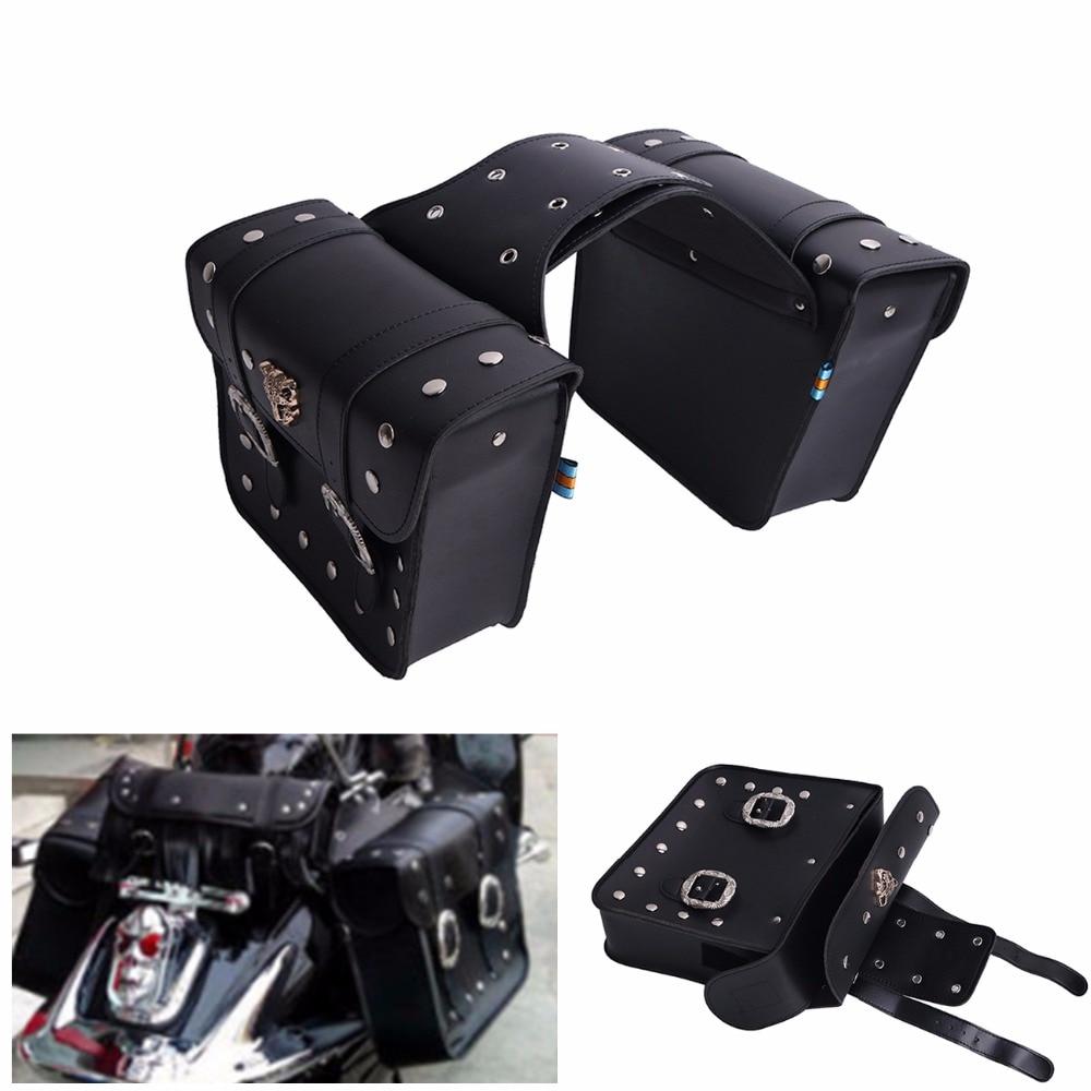 ФОТО 2X Motorcycle Leather Saddlebags Saddle Tool Pouch Bags Storage Pouch High Capacity For Honda Harley Kawasaki C/1