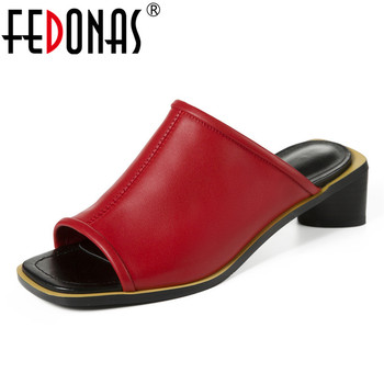 FEDONAS New Genuine Leather Women Med High Heels Sandals 2020 Summer Rome Shoes Woman Fashion Casual Slippers Ladies Pumps