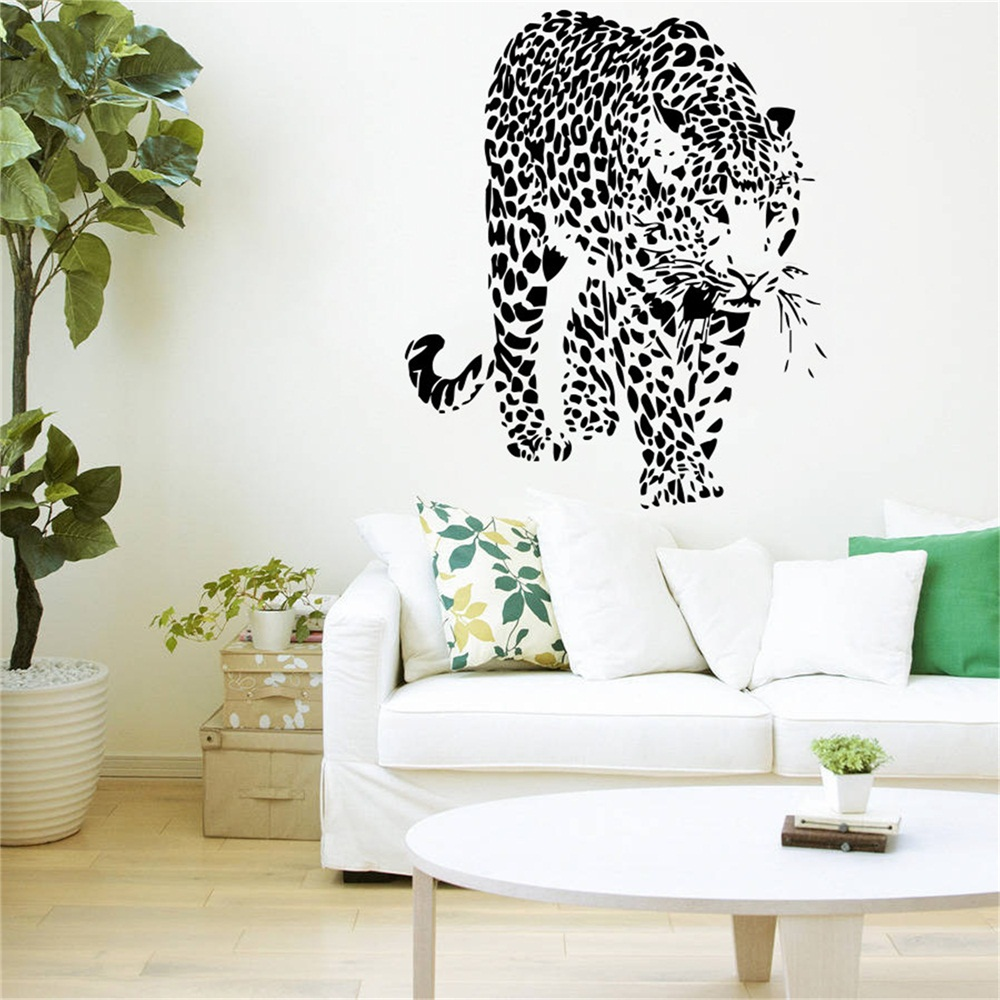 YINGKAI Leopard Print Wild Cat Animals Panther Tiger Fashion Living Room  Vinyl Carving Wall Decal Sticker