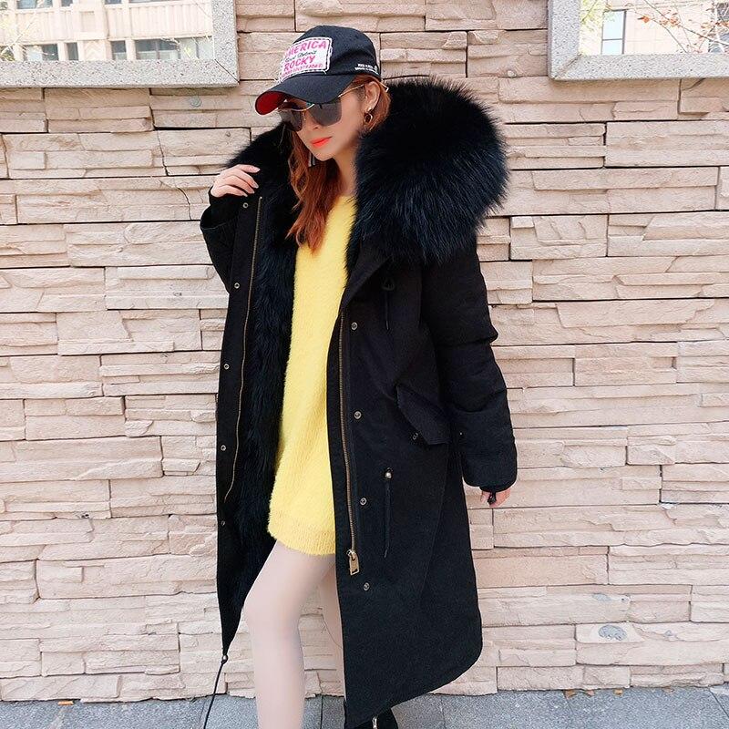 2019 chaqueta de invierno de las mujeres abrigo largo Natural Collar de piel de mapache capucha cálido grueso desmontable 3 en 1 ropa Streetwear parka