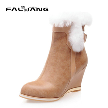Sexy Faux Fur Wedge Heel Female Ankle Boots Pointed Toe Zip Women Boots Size 34-43