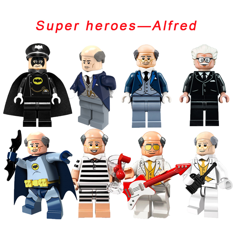Alfred Pennyworth Super Heroes 1966 Tv Series/Batman Movie/Bat suit/Classic Batsuit /Disco/Vacation Modelling Building Block Toy