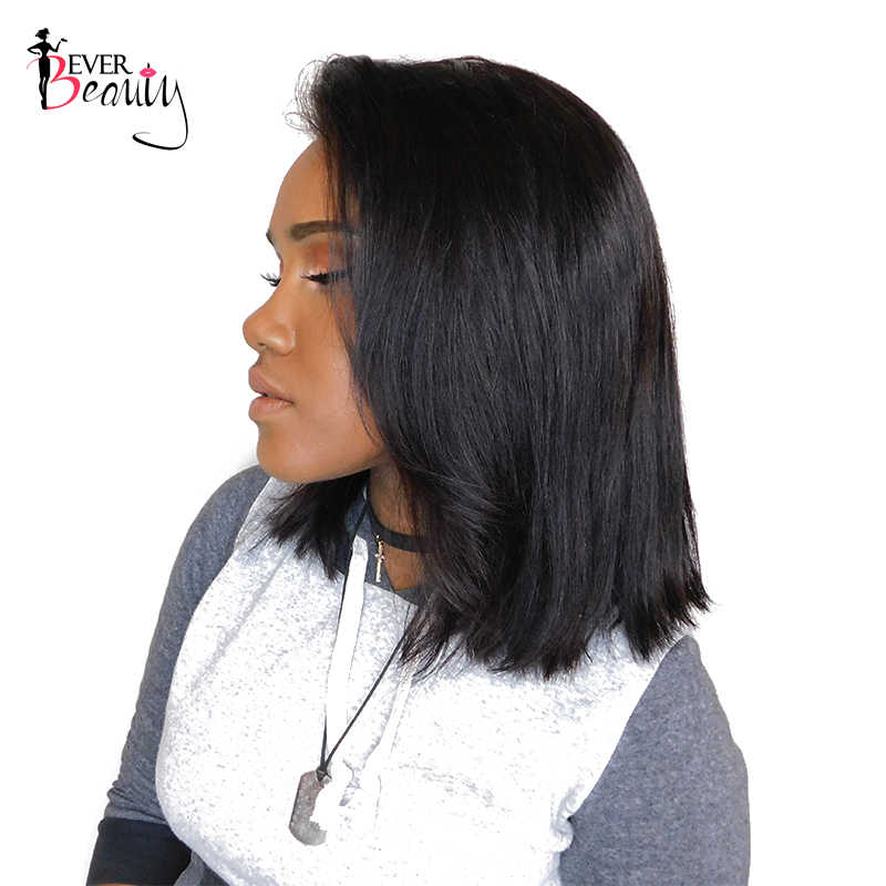 Прямые бразильские парики из натуральных волос на фронте шнурка для женщин 250% плотность короткие парики из тупых бобов натуральный черный цвет Remy Ever beauty
